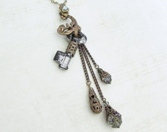 Secrets Revealed - Steampunk Necklace, Crystal Key Pendant, Key Charm Necklace