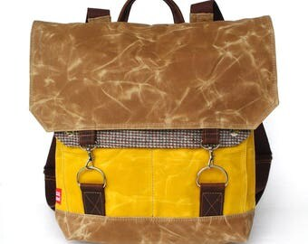 Waxed Canvas Backpack / Yellow / Sutherland Recycled Tweed Wool & Oiled Leather