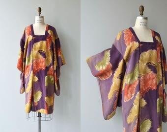 Isoginchaku silk michiyuki   vintage silk kimono   floral silk 1950s kimono