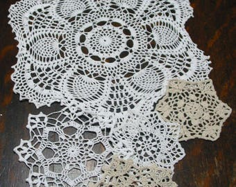 "lot of 14 Hand Crochet Doily 5""-7""-15"" RD for Cottage/Victorian/Shabby/Boho/French Style,Tea Party, Vintage Wedding"
