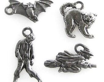 TierraCast HALLOWEEN Charm Set-Black Scary Cat, Zombie, Witch, Bat (4)