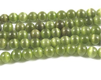 6mm Round Cat Eye Beads-OLIVE GREEN (65 beads)