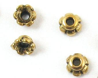 TierraCast Pewter Bead Caps-GOLD SCALLOPED 4mm (20)