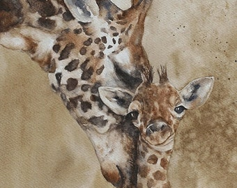 nursery art PRINT for him watercolour painting watercolor painting baby boy giraffe giraffe art print nursery African wall hanging dad 11x14