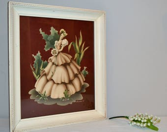 Vintage 1940s Turner Antebellum Lady with Frame