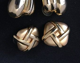 Gold color vintage earrings two pairs