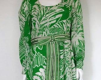 Vintage 60's Floral Green Dress size Large