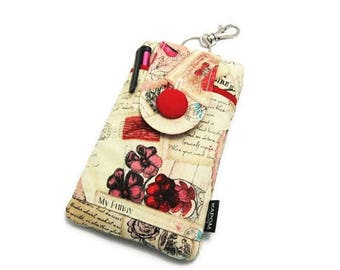 SALE & Ready to ship - Fabric Phone Pouch for iPhone SE, iPhone 5 and 5s, Button Closure - Vintage Valentine Postcards, My funny Valentine