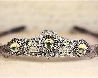 Silver Bridal Tiara, Jonquil Stone, Renaissance Wedding, Medieval Crown, Ren Faire, Festival, Tudor Costume, Bridal Headpiece, Choose Color