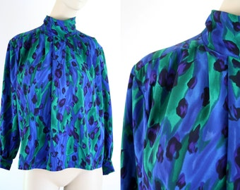 Petite Sophisticate Deep Blue and Green Animal Print Mock Neck Long Sleeve Woman's Vintage Blouse