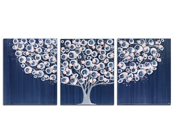 Nursery Painting - Blue and Pink Large Wall Art on Three Canvases - Tree - Large 50x20
