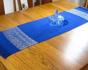 Handwoven Table Runner Star of Bethlehem Table Runner Buffet Scarf Hand Woven Coffee Table Runner Dark Blue and Gold Table Scarf Hand Woven