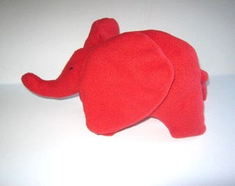 Small Baby Elephant Stuffed Animal  Washable  Soft Plush Toy Red Yellow Pink Gray Travel Toy Nursery No Buttons Handcrafted Child Softie