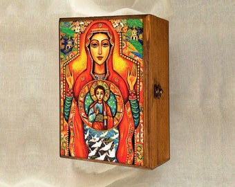 Our Lady of the Sign, Mother and Son art, Mother and Child art, mother box, Mary and Jesus Child, christian box, 7x10