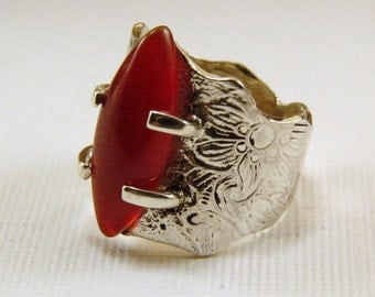 Sterling Silver and Carnelian Artisan Ring, Carnelian and Sterling Rustic Ring, Size 5