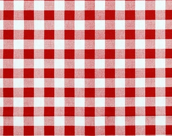Red Check Cafe Curtains, Pair of Rod Pocket Panels, Lipstick Red Small Check, Premier Prints Plaid, Kitchen, Dining Room, You choose size