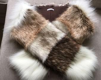 SALE - Faux Fur Scarf, Women's Fur Scarf, Fur Patch Neckwarmer, Fur Scarf, Women's Fur Scarf