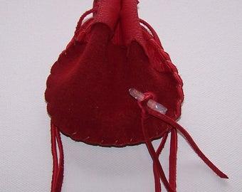 Beautiful Deerskin Medicine Bag ..RED