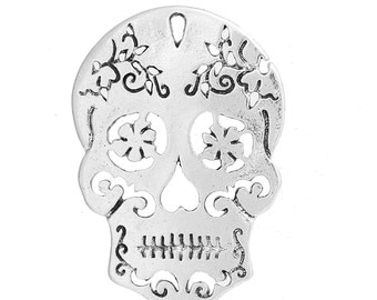 Sugar Skull - Set of 6 charms - Antique Silver - #HK1398