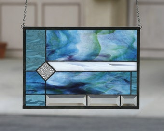 CARIBBEAN-Abstract Stained Glass Window Panel, Stained Glass Panel, Stain Glass, Ocean, Sea, Blue, Aqua, Green, Purple, White, Ready to Ship