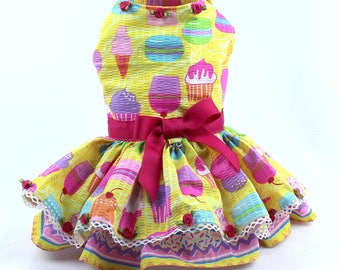 Dog Dress, Dog Harness Dress, Dog Fashion, Custom Dog Clothes, Summer Dress for Small Dogs, Seersucker, Ruffle, Yellow, Cup Cake