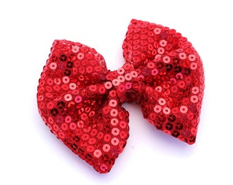 Large Red Sequin Sparkly Hair Bow, Non Slip Clip