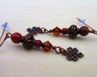 Cork Red Marble Earrings. Celtic Antique Copper. Celtic Jewelry.