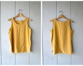 90s Silk Tank Top Dusty Yellow Blouse Loose Fit Minimal Crop Top Modern Tank Simple Basic Casual Silk Top Vintage Medium Large