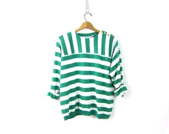 vintage pullover T shirt Green and White Striped Tee Shirt Top Preppy Hipster INDIE Girl long sleeve TShirt with Stripes Women's size Large