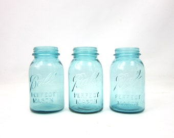 Blue Perfect Quart Mason Ball Jars Wedding Vase Home Decor Storage Set of 3 Collection of Jars Primitive Rustic Canning Jars