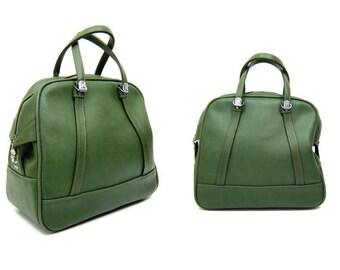 Vintage 60s Avocado Green American Tourister Carry On Large Vinyl Overnight Handbag Travel Shoulder Bag Train Case Luggage Messenger Bag