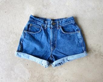 "90s Dark Wash Blue Jean Shorts High Waist Cut Off Denim Shorts Vintage 80s MOM Shorts Frayed Hipster Boho Womens Small Medium 26"" Waist"