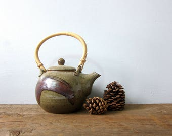 Stoneware Teapot with Handle Vintage 1970s Earthy Pottery Retro Kitchen Home Decor Modern Ranch Home Serving Coffee Tea Signed GS