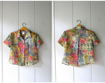 Floral Cropped Blouse Sheer Crop Top OPEN BACK Button Up Blouse Vintage Minimal Boxy Sheer Shirt Modern Monet Print Crop Top Womens Medium