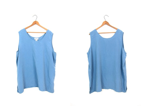 Oversized Blue Silk Tank Top Sleeveless Slouchy Blouse 90s Minimal Top 1990s Loose Fit Slinky Silk Tank Top Sleeveless Vintage Womens XL