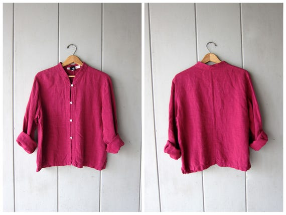 Magenta Pink Linen Blouse Eileen Fisher Minimal Button Up Blouse Long Sleeve Boxy Top Collarless 90s Top Modern Vintage DES Womens Large
