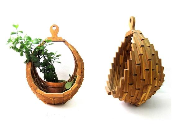 Geometric Wooden Plant Basket Modern Folk Art Craft Hanging Wood Plant Holder 1970s BOHO Decor Large Natural Plant Hanger Basket Vintage