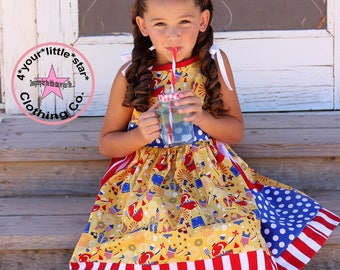 4th of July Preorder Limited Release Clara, Polly dresses sizes 12 mos up to girls size 10