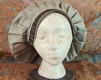 Beige Muffin Cap With Embroidered Jacquard Trim, Renaissance Costume, Floppy Hat, Mob Cap, Medieval Caul
