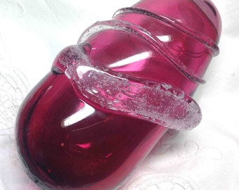 Cranberry Glass Vase Vintage Art Glass Mid Century Modern MCM Abstract Stunning Deep Pink with Applied Clear Strands - Perfect Gift for Her!