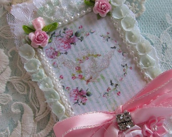 Pink and Aqua Romantic Gift Tag Gift Tag Shabby Tag  Mixed Media Tag  Lace Gift Tag  Vintage Wedding Tag