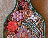 Leather Flower Garden Key Fob with Green Border  Made in GA USA  OOAK