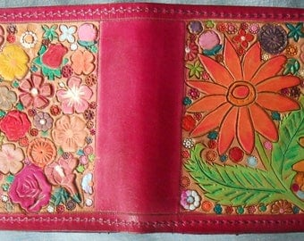 Leather Single Fold Wallet with Hidden Pocket Flower Garden Design Made in GA USA