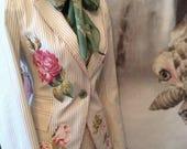 Boho jacket gypsy boho bohemian festival clothing rose romantic boheme spring 2017 vintage roses Ss17 size 34 chest