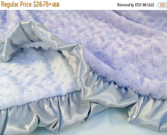 ON SALE Lavender Gray and White Minky Baby Blanket Can Be Personalized