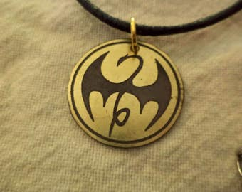 Marvel's Iron Fist Small Etched Brass Pendant
