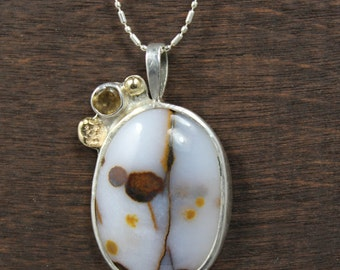 Poppy Jasper 14kt Gold Accented  Citrine Pendant, Poppy Jasper Citrine Pendant with 14kt Gold Accents