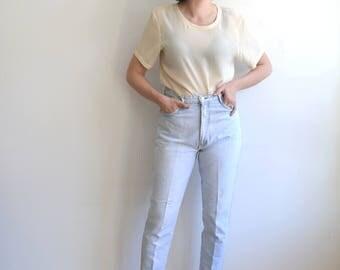 Vintage 80's Light Wash Denim/ LA Gear High Waisted Tapered Leg Cigarette Jeans/ Size 30