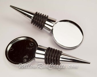 2  Bottle Wine Stoppers  36mm Bezel  Size, Personalize with resin or crystal clay.