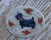 "Folk Art Miniature Punch Needle Dollhouse Rug ""Scotty"""